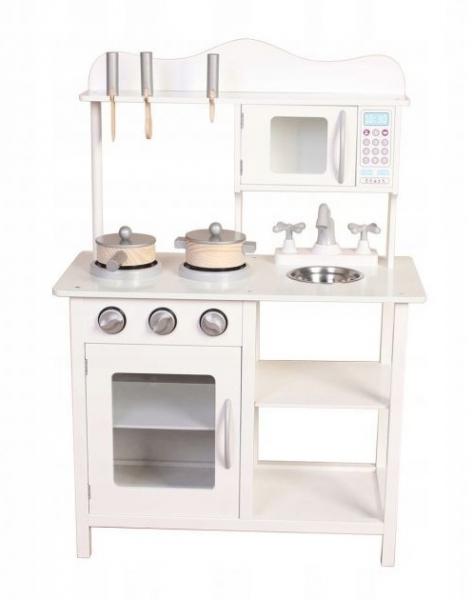 Eco Toys Dřevěná kuchyňka s příslušenstvím, 85 x 60 x 30 cm - bílá