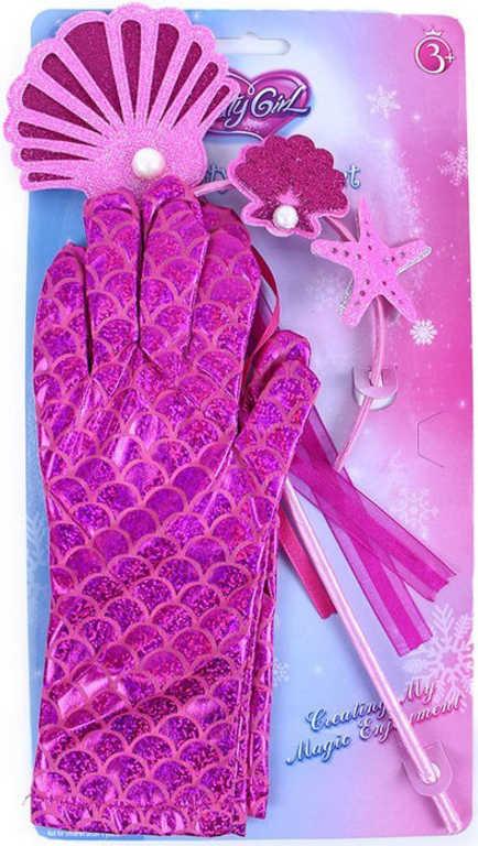 KARNEVAL Sada mořská víla růžová set 3ks na kartě KARNEVALOVÝ DOPLNĚK