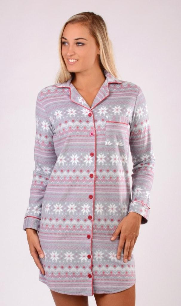 Dámská noční košile s dlouhým rukávem VIENETTA Nora - šedá - XL