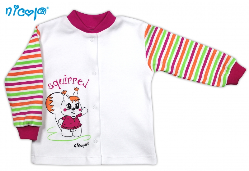 Bavlněná košilka NICOL SQUIRREL - Veverka/bílá s proužkem - 68 (4-6m)