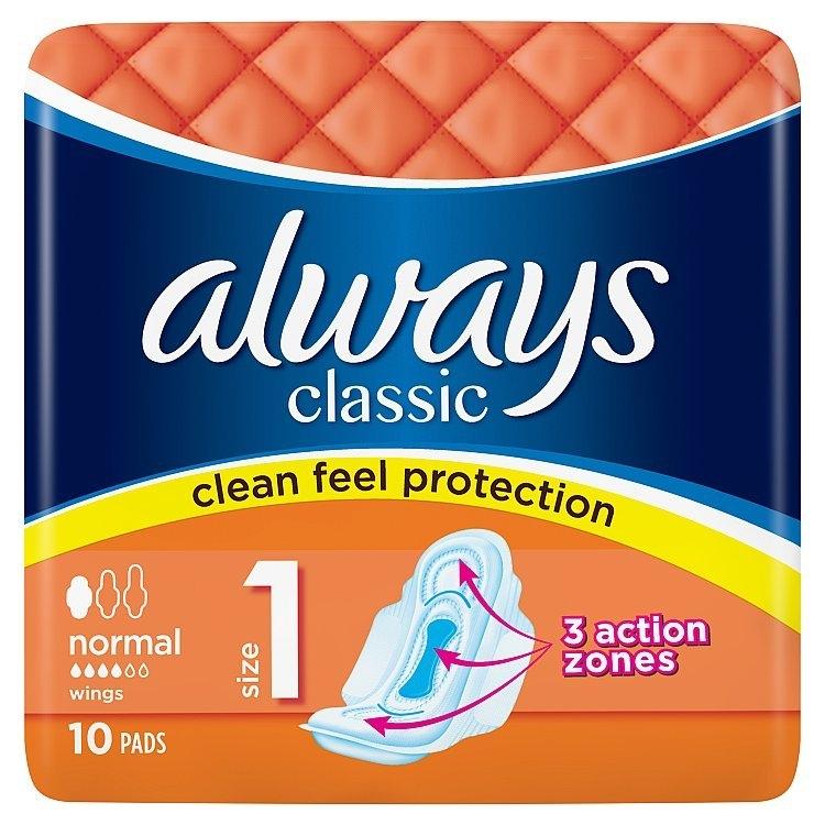 Classic Normal hygienické vložky s křidélky 10ks/bal.