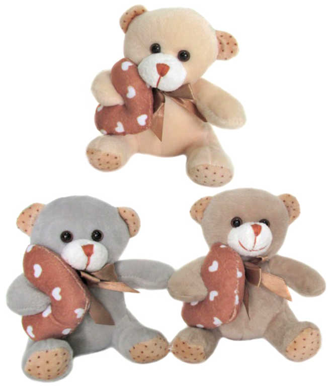 PLYŠ Medvídek 14cm se srdcem různé barvy *PLYŠOVÉ HRAČKY*