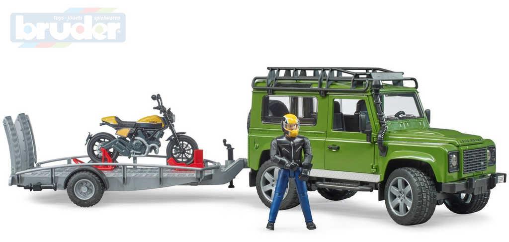 BRUDER 02589 Auto Land Rover set s přívěsem a motoycklem Ducati s figurkou jezdce