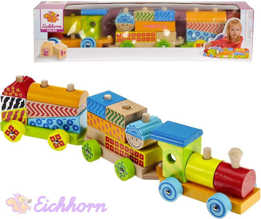 EICHHORN DŘEVO Vláček navlékací 41cm set mašinka + 2 vagonky s kostkami pro miminko