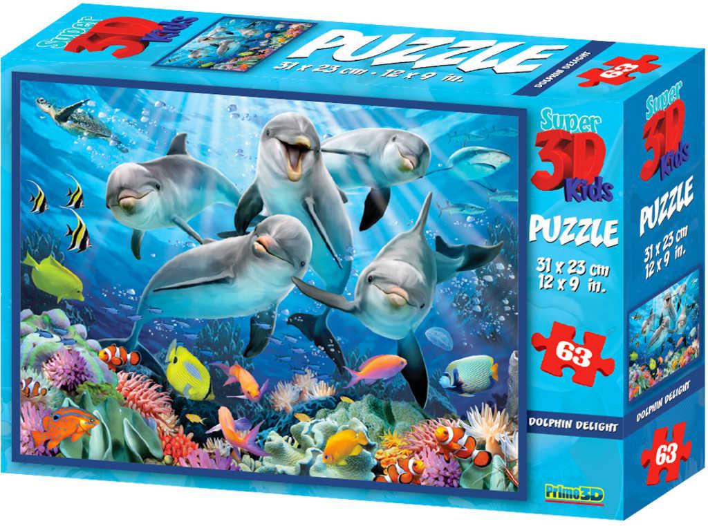 PUZZLE 3D Skládačka Delfíni selfie 31x23cm set 63 dílků