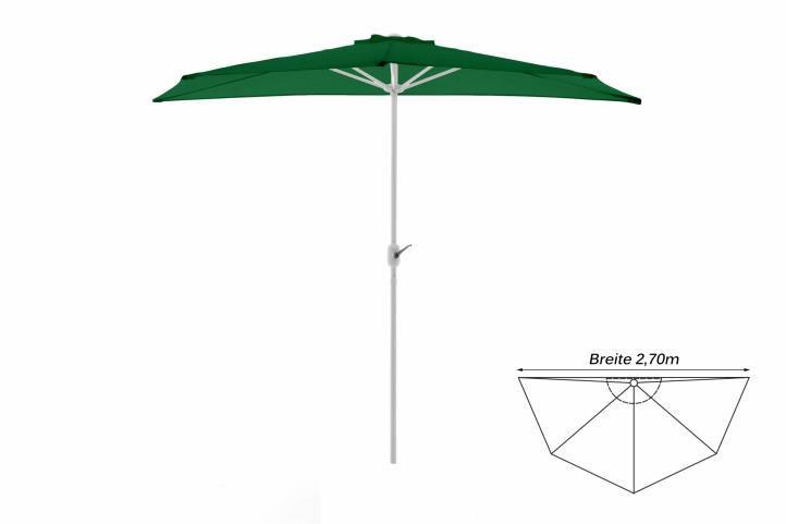 Půlkruhový zahradní slunečník - zelený- 2,7