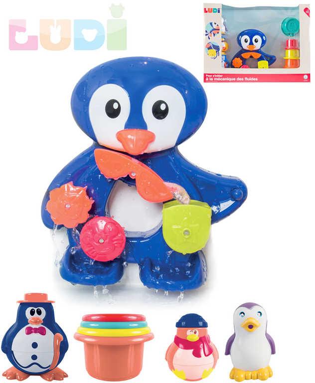 LUDI Baby tučňák vodní mlýnek s aktivitami s doplňky do koupele pro miminko
