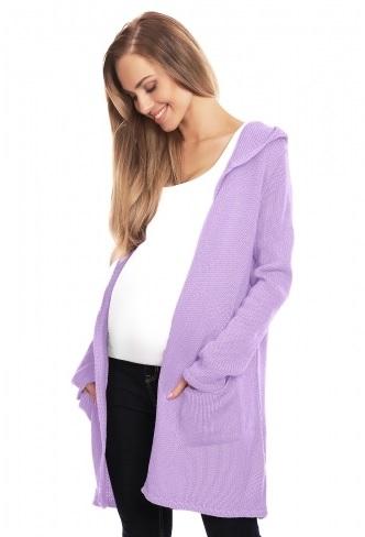 Be MaaMaa Těhotenský kardigan s kapucí, lila - UNI
