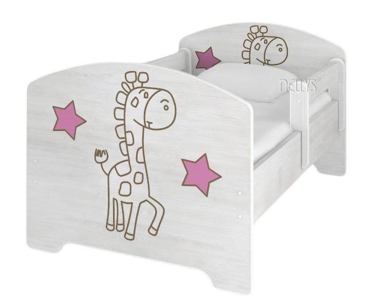 NELLYS Dětská postel Žirafka STAR růžová v barvě norské borovice + matrace zdarma - 140x70