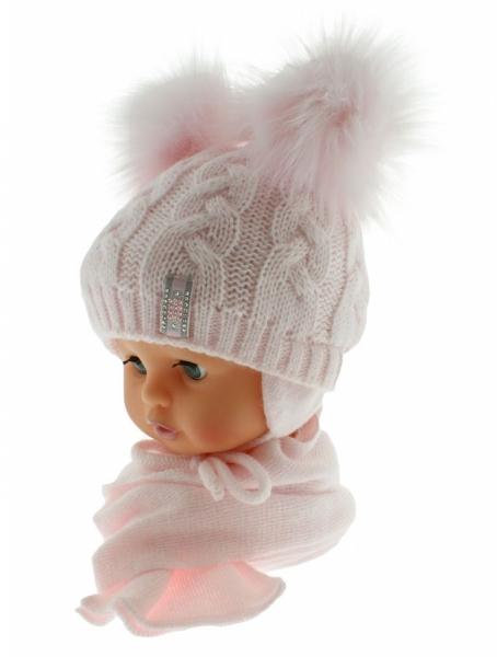 BABY NELLYS Zimní čepička s šálou - chlupáčkové bambulky - sv. růžová/sv. růžové - 6/18měs