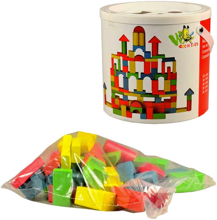 DŘEVO Kostky barevné 5cm set 50ks v kbelíku STAVEBNICE