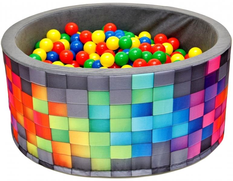 nellys-bazen-pro-deti-90x40cm-kruhovy-tvar-200-balonku-sedy-barevne-kosticky