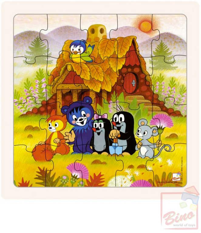 BINO DŘEVO Baby puzzle Krtek a kamarádi 17x17cm paní Krtečková 20 dílků