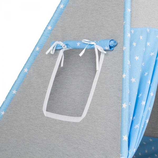 Mamo Tato Stan pro děti teepee, týpí s výbavou - béžový/mini hvězdičky bílé na šedém