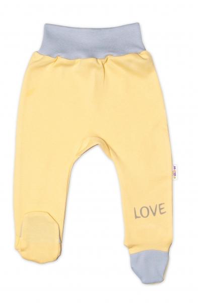 Baby Nellys Kojenecké polodupačky, žluté - Love, vel.