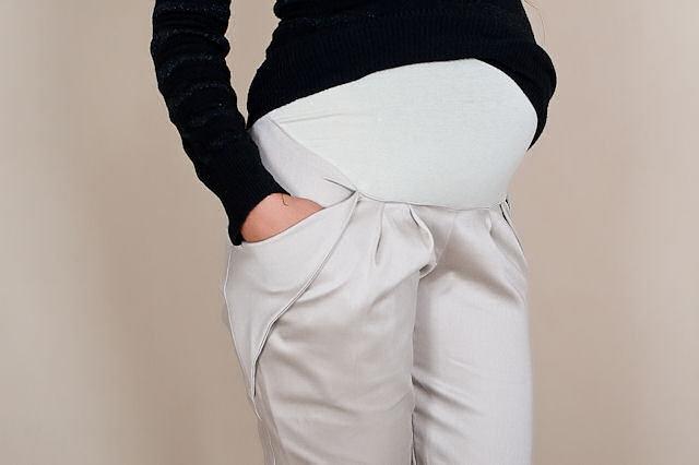 Be MaaMaa Těhotenské kalhoty ALADINKY - Béžové - S (36)