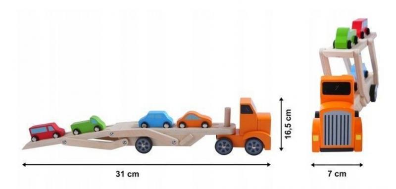 ECO TOYS Dřevěný tahač s návěsem pro 4 autíčka
