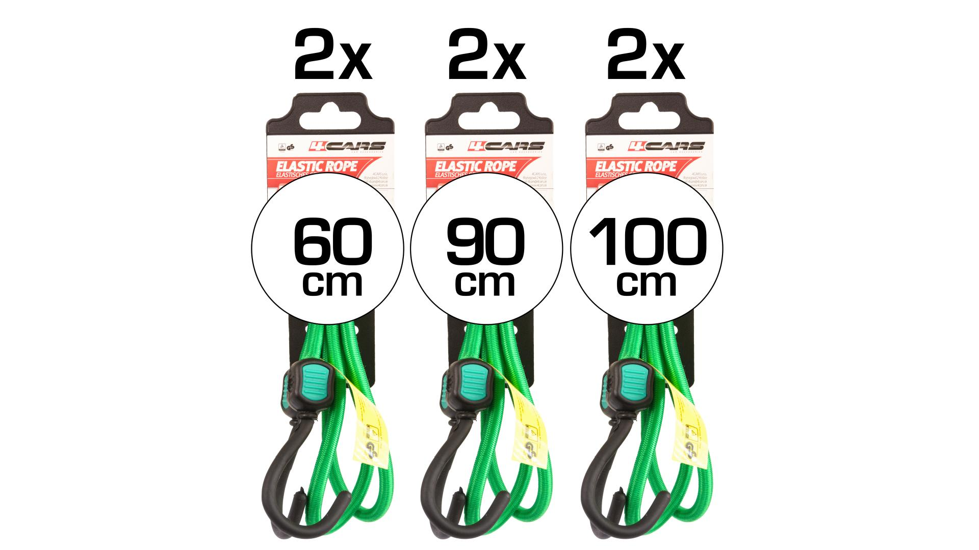 4CARS 6-pieces set of Bungee cords TUV GS 100/90/60 cm