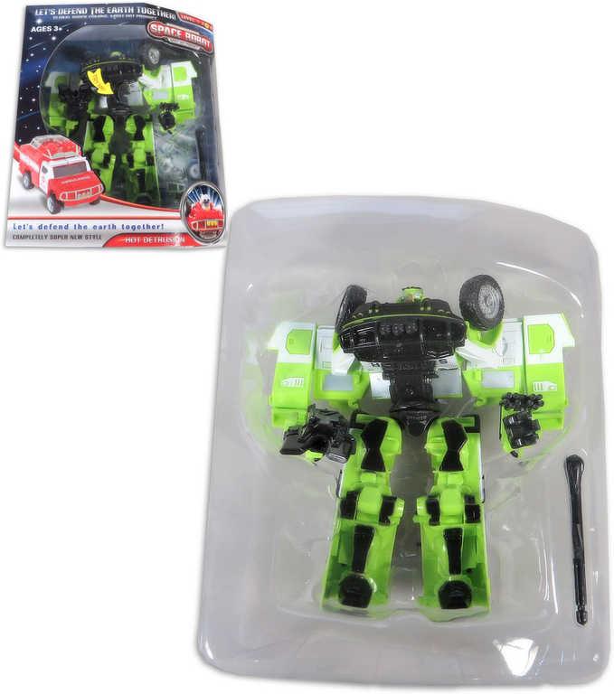 Transrobot plastový zelený 15cm autorobot s přeměnou s doplňkem
