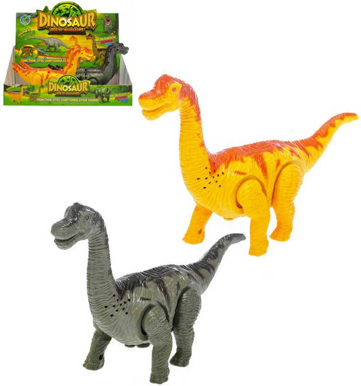 Brontosaurus 23cm chodící ještěr dino na baterie Světlo Zvuk 2 barvy plast