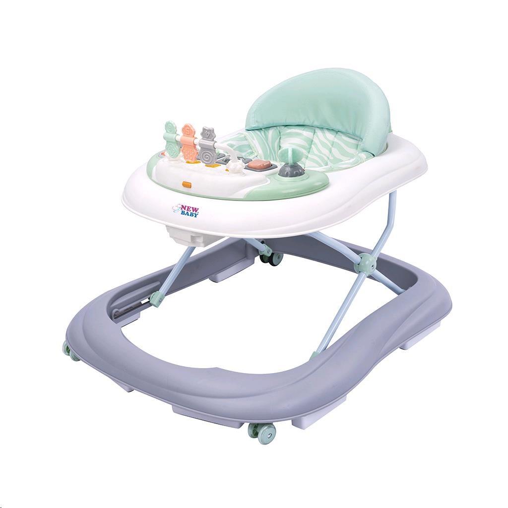 Dětské chodítko se silikonovými kolečky New Baby ABC Brilliant Star - zelená