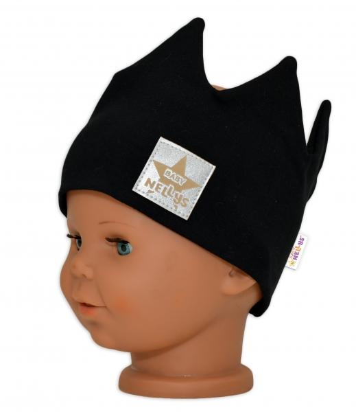 baby-nellys-hand-made-bavlnena-celenka-dvouvrstva-korunka-cerna-44-48cm-3-7let-44-48-cepicky-obvod-3-7-let