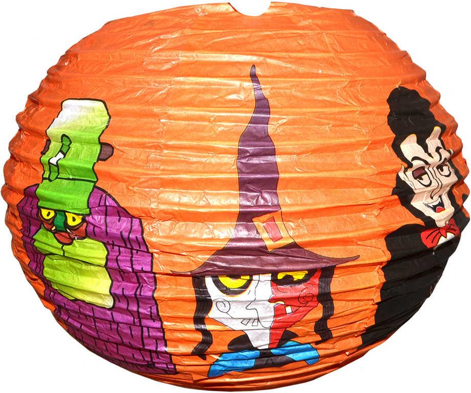 Lampion krčený harmonika Halloween 25cm kulatý oranžový s potiskem na žárovku