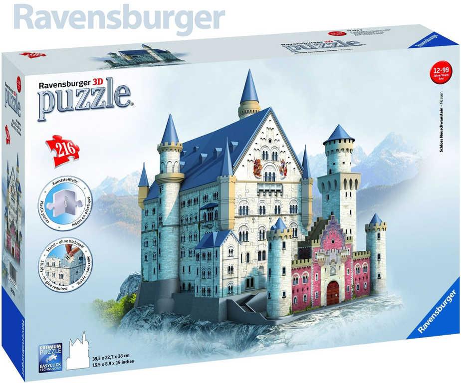 RAVENSBURGER Puzzle 3D Neuschwanstein zámek 216 dílků v krabici