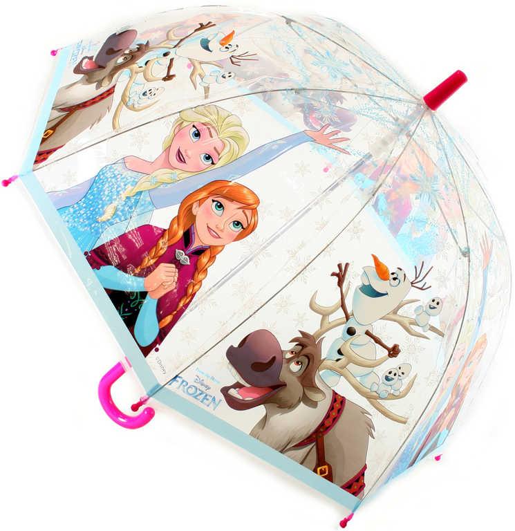 Deštník dětský průhledný Frozen (Ledové Království) mechanický v sáčku