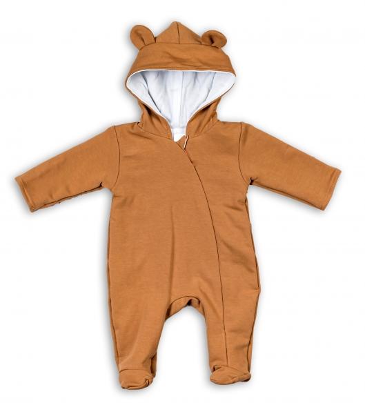 Baby Nellys Kojenecký teplákový overal s kapucí Teddy