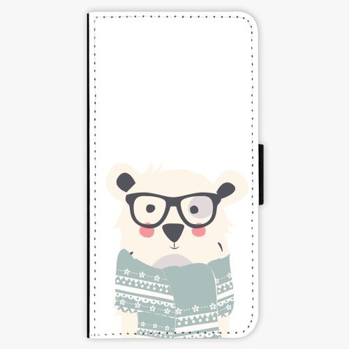 Flipové pouzdro iSaprio - Bear with Scarf - Samsung Galaxy A8 2018