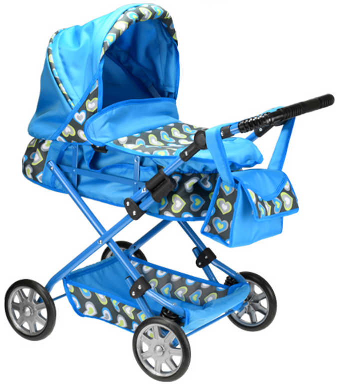 Kočárek KASIA modrý hluboký 84cm srdíčka set s taštičkou pro panenku miminko