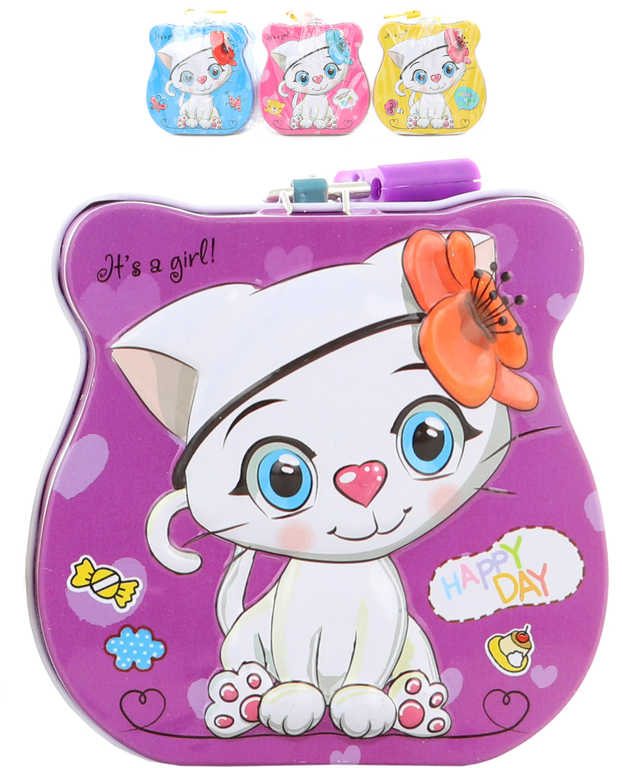 Pokladnička kočička 9cm dětská plechová kasička na zámek 4 barvy