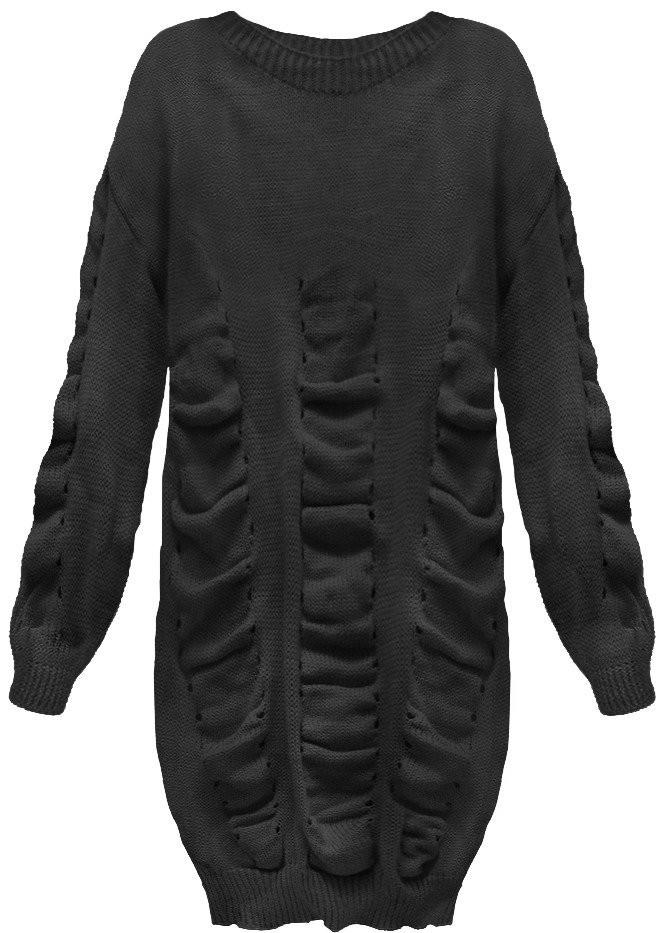 Černý dámský svetr s nabíráním (181ART) - Černá/ONE SIZE