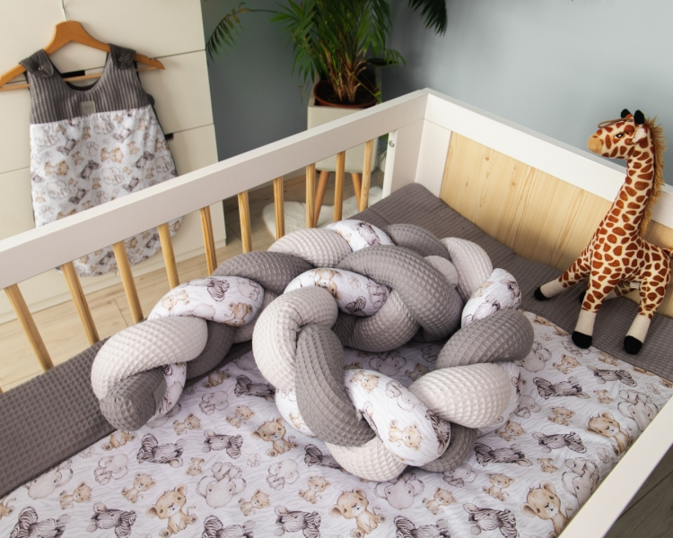 Baby Nellys Mantinel pletený cop Vafel, bavlna LUX, Safari