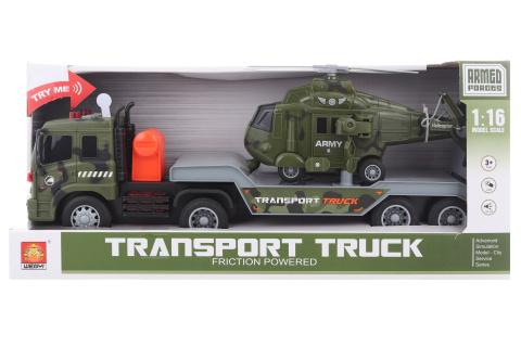 Vojenský kamion s helikoptérou na baterie