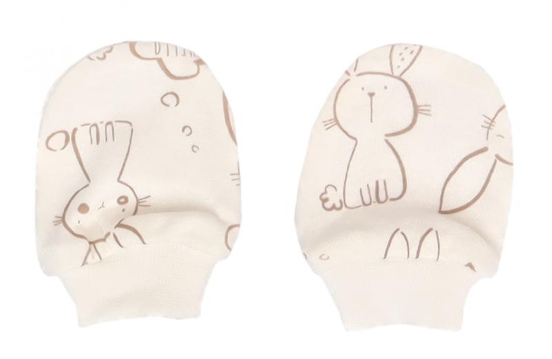 Mamatti Kojenecké rukavičky Králíček, krémová s potiskem