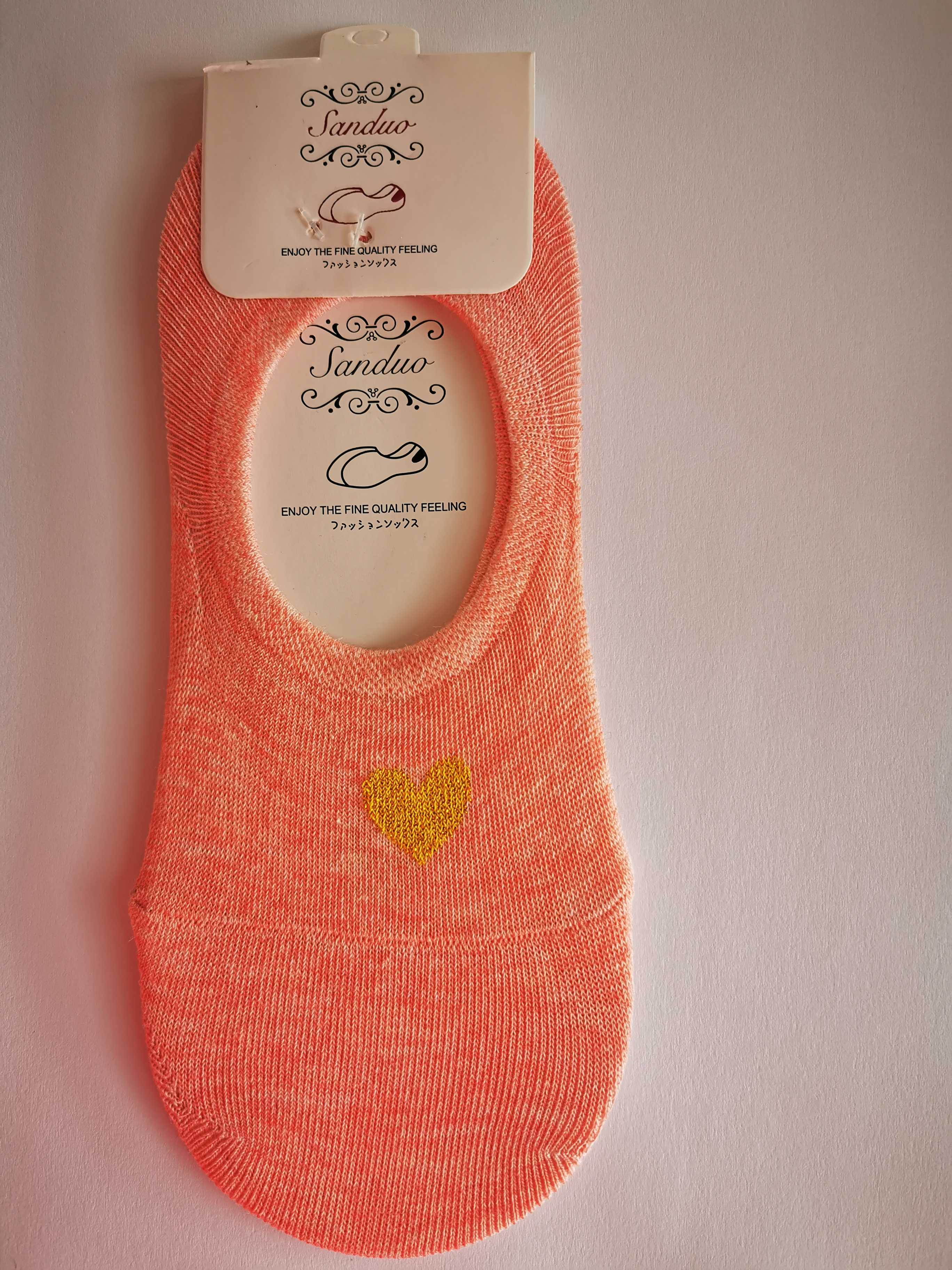Ne-kotníkové ponožky se srdíčkem - Růžová
