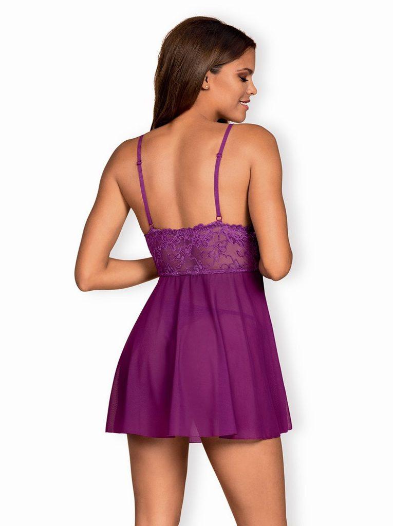 Vášnivá košilka Obsessive Idillia babydoll purple - Fialová