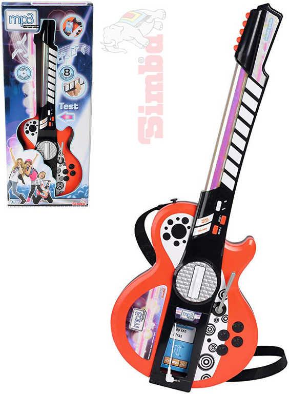 SIMBA Kytara dětská elektronická mp3 na baterie Světlo Zvuk *HUDEBNÍ NÁSTROJE*
