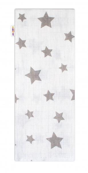 Baby Nellys Kvalitní bavlněná plenka - Tetra Premium, 70x80cm - Hvězdičky šedé na bílé