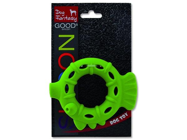 Hračka DOG FANTASY silikonový kroužek světle zelený 10 cm