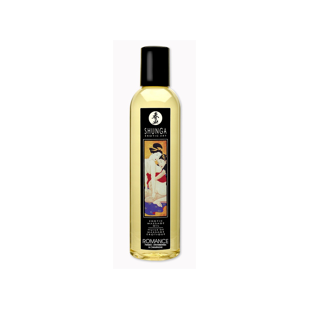 Erotický masážní olej Shunga Romance Champagne & Strawberry 250ml