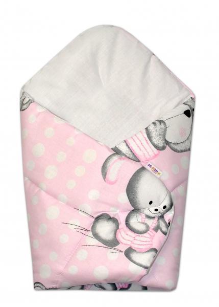 Novorozenecká zavinovačka Medvídek s králíčkem Bubble, 75x75 cm - růžová - Klasické