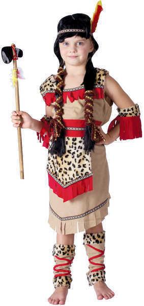 KARNEVAL Šaty INDIÁNKA vel. M (120-130 cm) 5-9 let béžový KOSTÝM