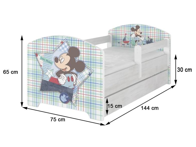 NELLYS Dětská postel 160x80cm, Žirafka STAR v barvě norské borovice + matrace zdarma - 160x80