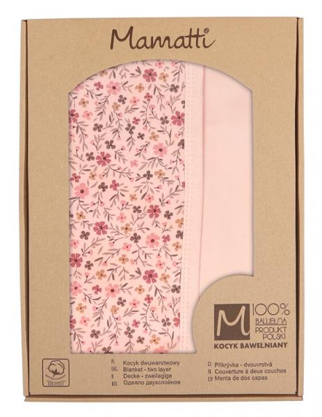 mamatti-detska-oboustranna-bavlnena-deka-80-x-90-cm-kvetinka-pudrova-s-potiskem