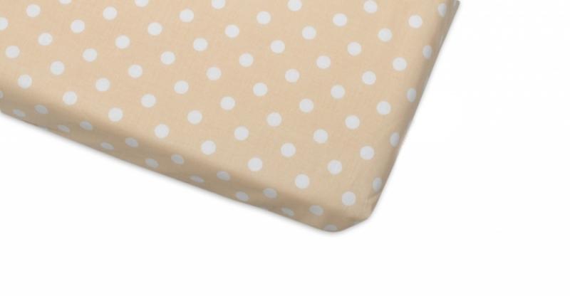Bavlněné prostěradlo 60x120cm - Puntíky béžové - 120x60