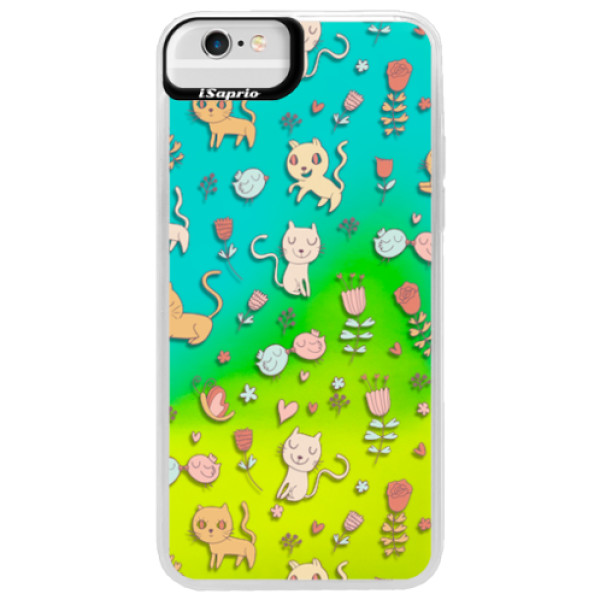 Neonové pouzdro Blue iSaprio - Cat pattern 02 - iPhone 6 Plus/6S Plus