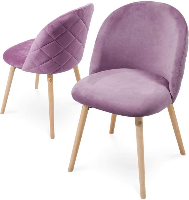 Sada jídelních židlí sametové, fialové, 2 ks
